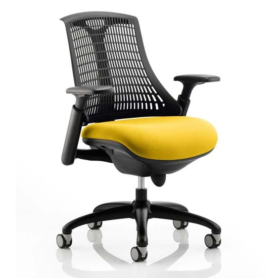 Flex Task Black Back Office Chair With Senna Yellow Seat