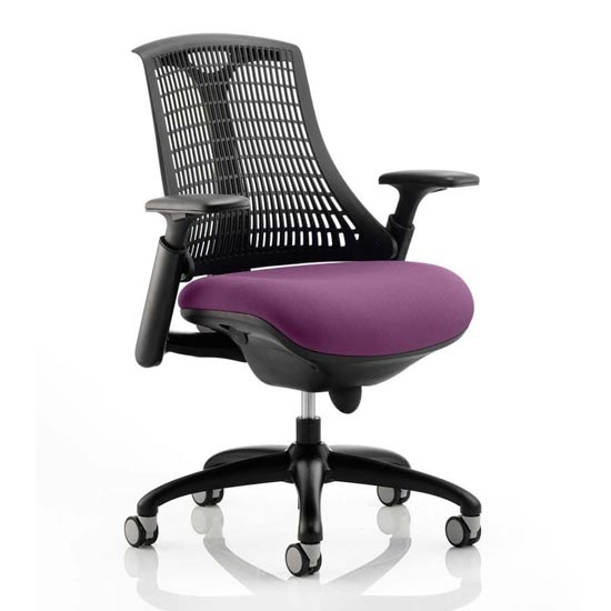 Flex Task Black Back Office Chair With Tansy Purple Seat_1