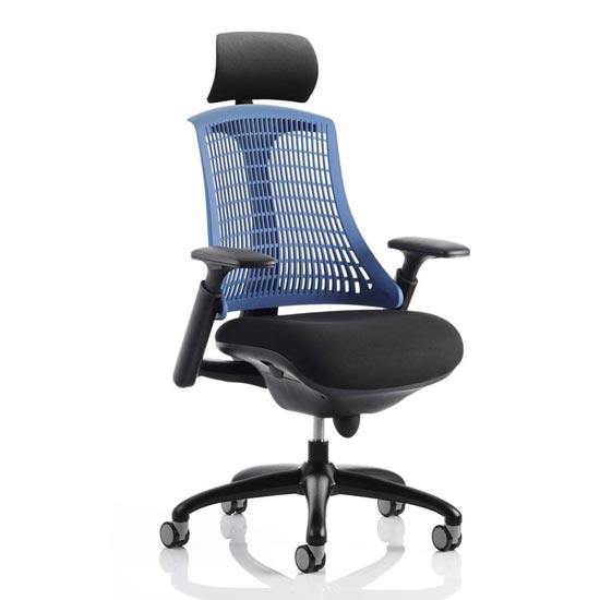 Flex Task Headrest Office Chair In Black Frame With Blue Back