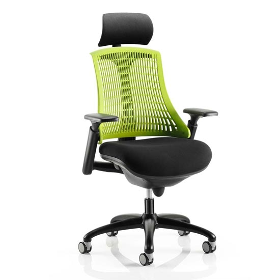View Flex task headrest office chair in black frame with green back