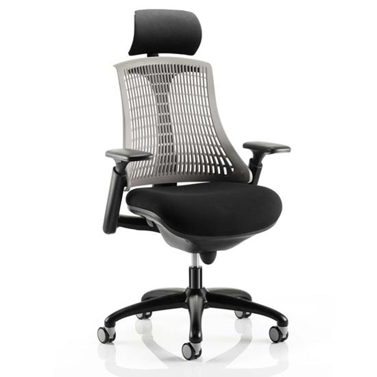 Flex Task Headrest Office Chair In Black Frame With Grey Back_1