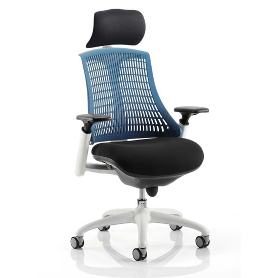 Flex Task Headrest Office Chair In White Frame With Blue Back