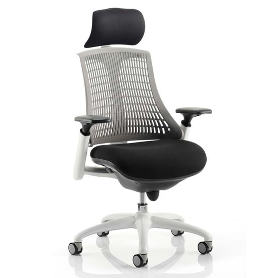 Flex Task Headrest Office Chair In White Frame With Grey Back