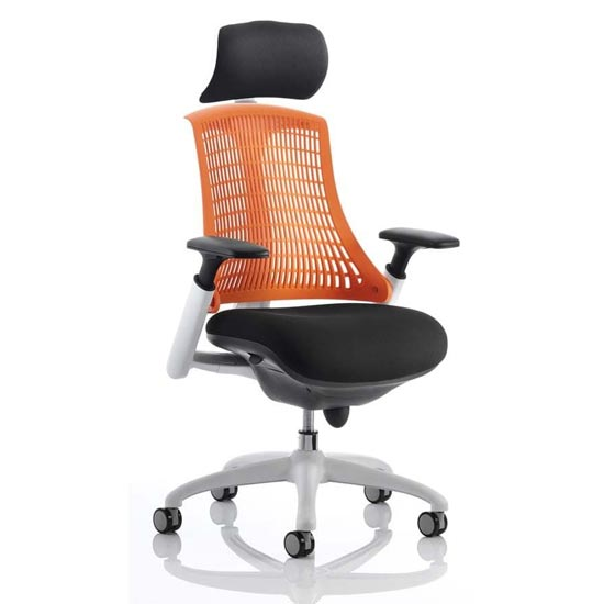 Flex Task Headrest Office Chair In White Frame With Orange Back