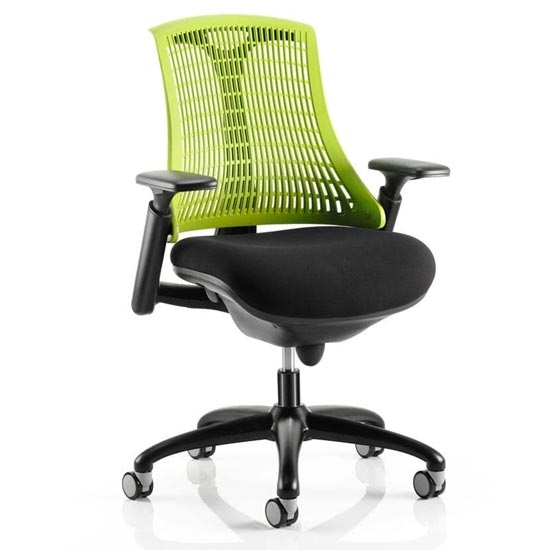 Flex Task Office Chair In Black Frame With Green Back