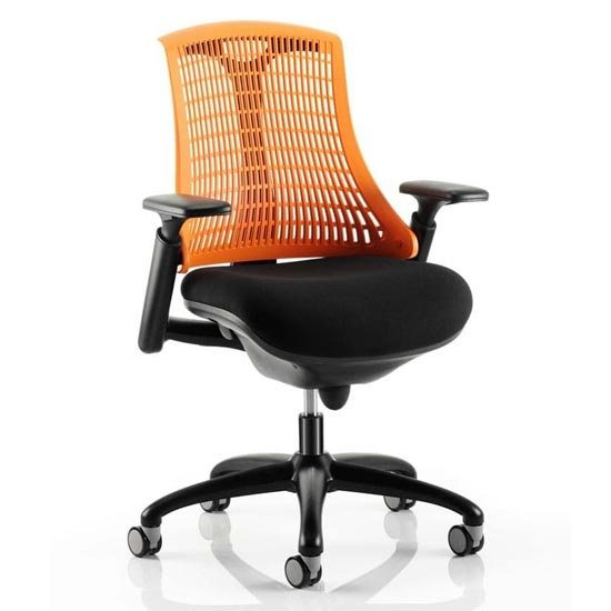 Flex Task Office Chair In Black Frame With Orange Back
