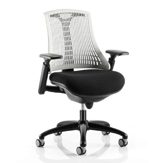 Flex Task Office Chair In Black Frame With White Back