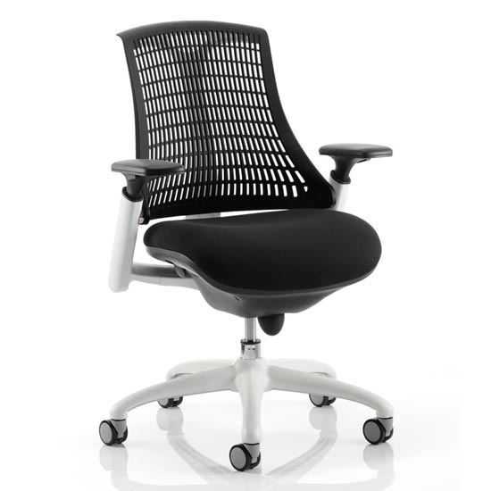 Flex Task Office Chair In White Frame With Black Back