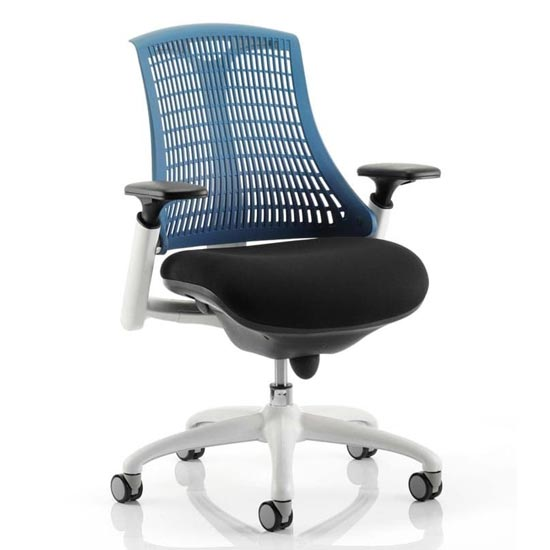 Flex Task Office Chair In White Frame With Blue Back
