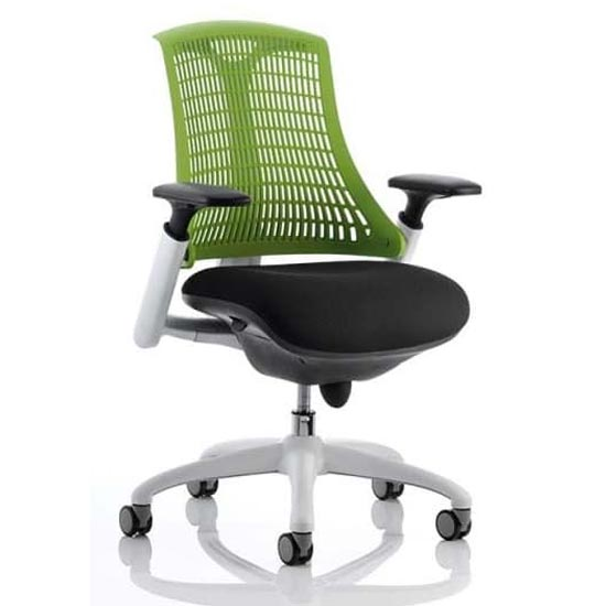 Flex Task Office Chair In White Frame With Green Back