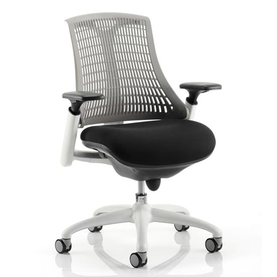 Flex Task Office Chair In White Frame With Grey Back