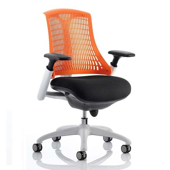 Flex Task Office Chair In White Frame With Orange Back