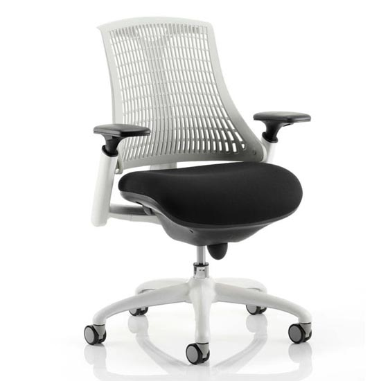Flex Task Office Chair In White Frame With White Back