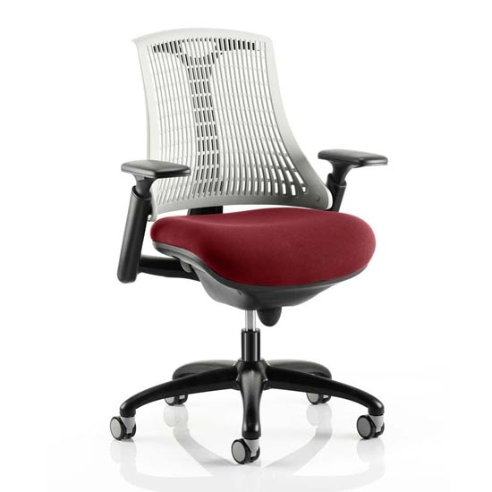 Flex Task White Back Office Chair With Ginseng Chilli Seat