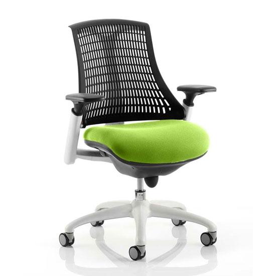 View Flex task white frame black back office chair in myrrh green