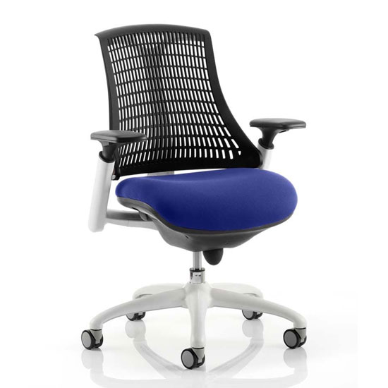 Flex Task White Frame Black Back Office Chair In Stevia Blue