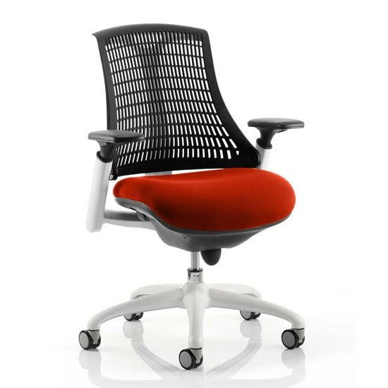 Flex Task White Frame Black Back Office Chair In Tabasco Red