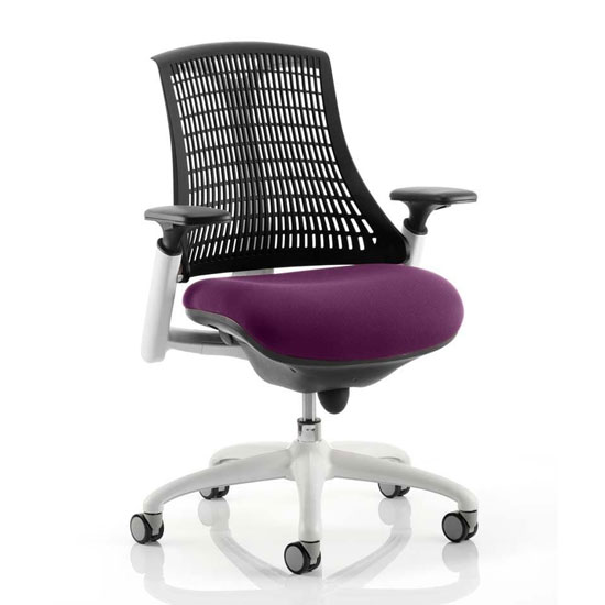 Flex Task White Frame Black Back Office Chair In Tansy Purple