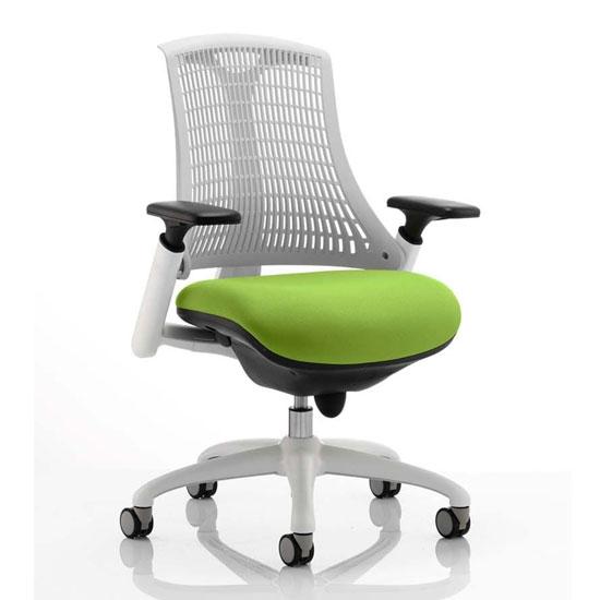 View Flex task white frame white back office chair in myrrh green