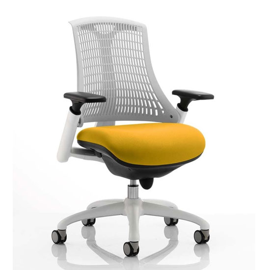 Flex Task White Frame White Back Office Chair In Senna Yellow