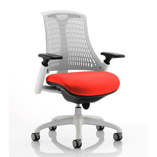 Flex Task White Frame White Back Office Chair In Tabasco Red