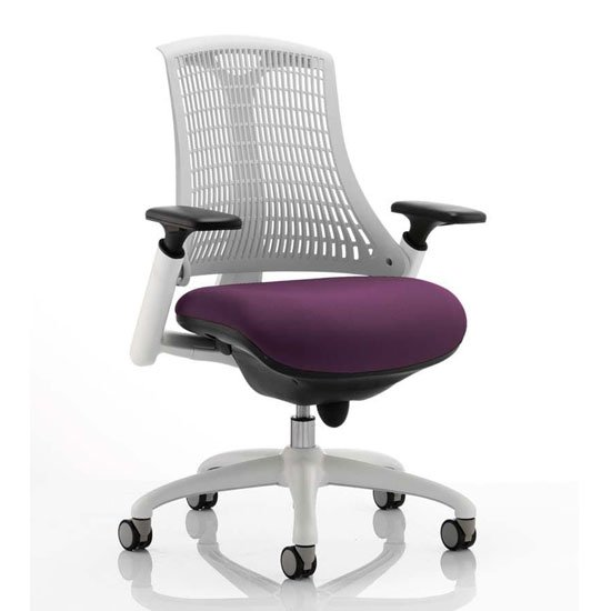 Flex Task White Frame White Back Office Chair In Tansy Purple