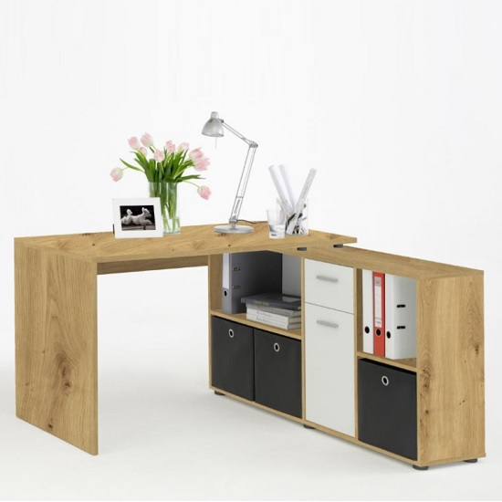Flexi Wooden Corner Computer Desk In Artisan Oak And White