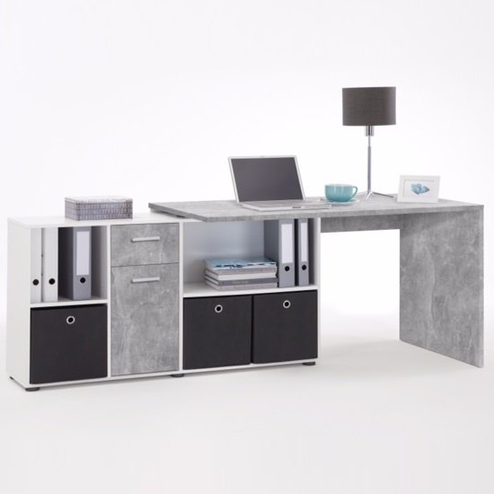 Flexi Modern Corner Computer Desk In Atelier And White_2