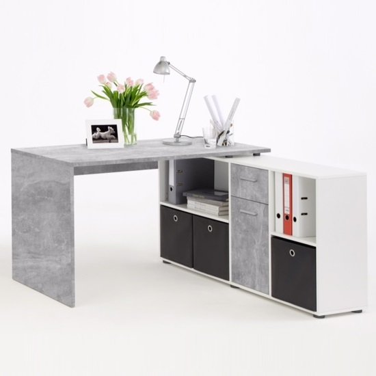 flexi modern corner computer desk in atelier and white