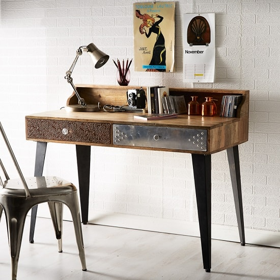 Flocons Console Table In Reclaimed Wood With 2 Drawers