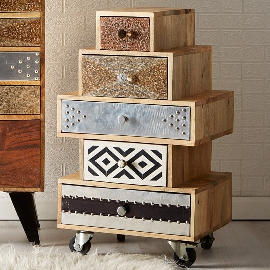Flocons Chest Of Drawers In Reclaimed Wood With 5 Drawers
