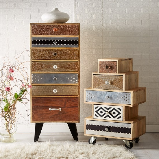 Flocons Tall Chest Of Drawers In Reclaimed Wood With 7 Drawers_2