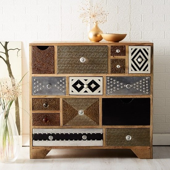 Flocons Wide Chest Of Drawers In Reclaimed Wood With 14 Drawers