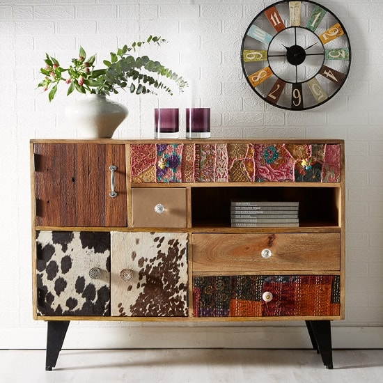 Flocons Wooden Sideboard In Reclaimed Wood With 4 Drawers