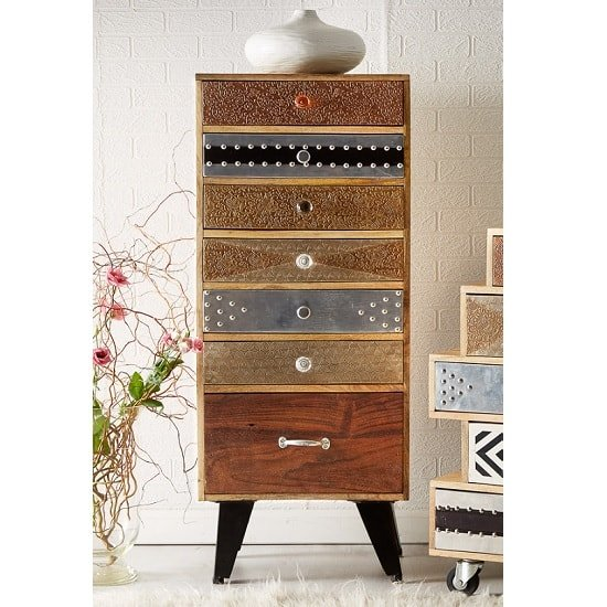Flocons Tall Chest Of Drawers In Reclaimed Wood With 7 Drawers_1