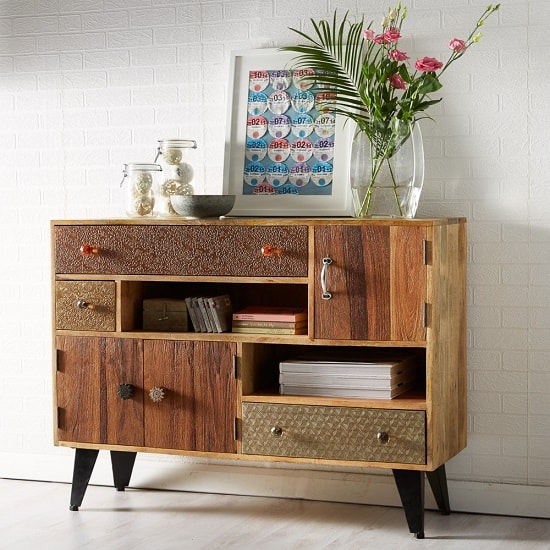 Flocons Wooden Sideboard In Reclaimed Wood With 3 Drawers