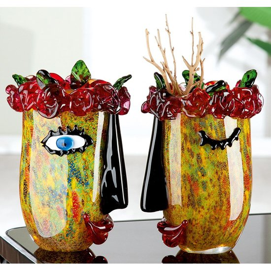 Flora Glass Set Of 2 Decorative Vase In Multicolor
