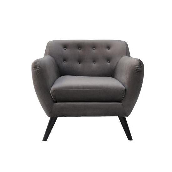 Flora Arm Chair In Brushed Velvet Grey Fabric With Wooden Legs_2