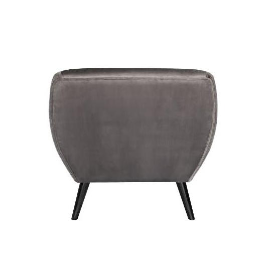 Flora Arm Chair In Brushed Velvet Grey Fabric With Wooden Legs_4