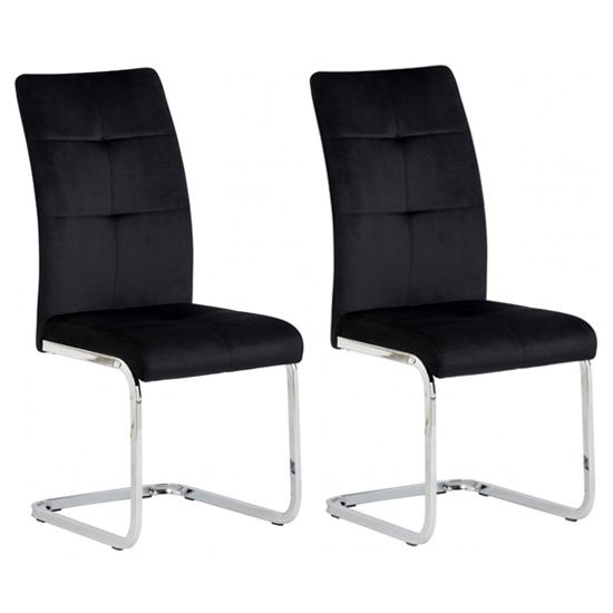 Florence Black Velvet Dining Chair In A Pair
