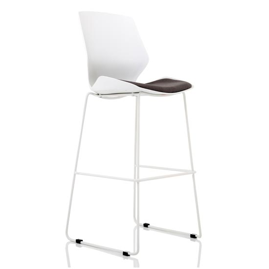 Florence Fabric High Office Stool In Grey With White Frame
