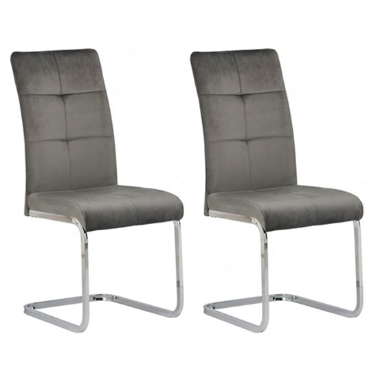 Florence Grey Velvet Dining Chair In A Pair