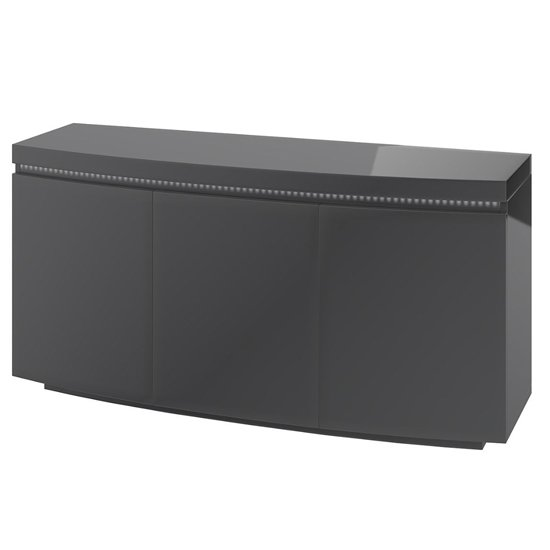 Florence Large Sideboard In Grey High Gloss With LED Stripe