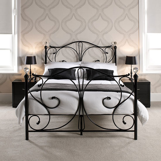 Florence Metal King Size Bed in Black