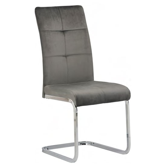 Florence Velvet Dining Chair In Grey