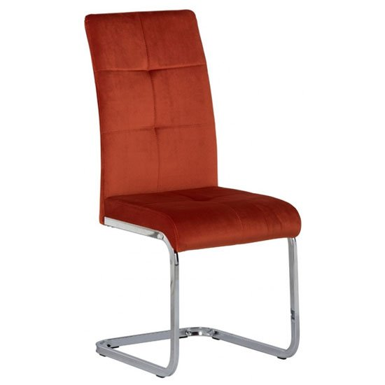 Florence Velvet Dining Chair In Orange_1