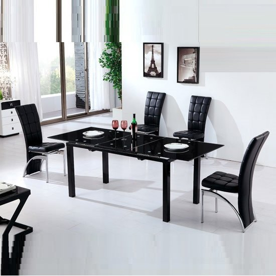 Florence Contemporary Extending Dining Table In Black Glass