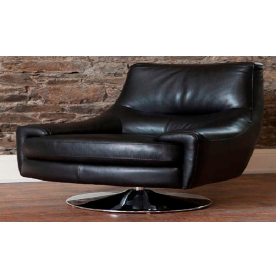 Photo of Florentina swivel sofa chair in black leather with chrome base