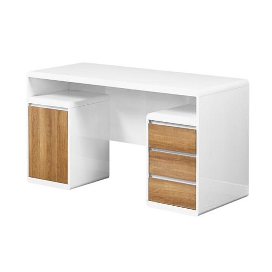 Florentine Computer Desk In White Gloss With Dark Oak Drawers_2