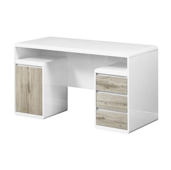 Florentine Computer Desk In White Gloss With Grey Oak Drawers_2